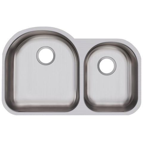 "Elkay Dayton 31"" Stainless Steel Kitchen Sink, 60/40 Double Bowl, Radiant Satin, DXUH3119R"