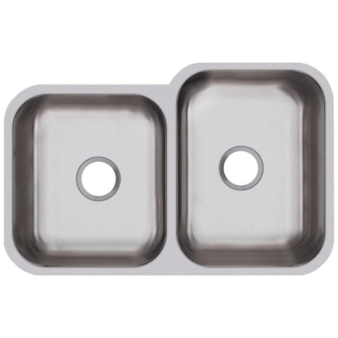 "Elkay Dayton 32"" Stainless Steel Kitchen Sink, 50/50 Double Bowl, Radiant Satin, DXUH312010L"