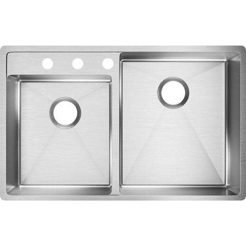 "Elkay Crosstown 33"" Stainless Steel Kitchen Sink, 45/55 Double Bowl, Polished Satin, ECTRUD31199L3"