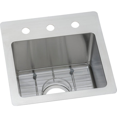"Elkay Crosstown 15"" Stainless Steel Bar Sink Kit, Polished Satin, ECTSR15159TBG3"