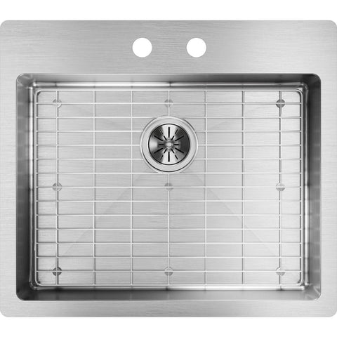 "Elkay Crosstown 25"" Stainless Steel Kitchen Sink Kit, Polished Satin, ECTSRAD25226TBG2"