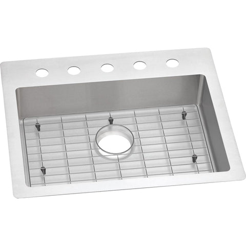 "Elkay Crosstown 25"" Stainless Steel Kitchen Sink Kit, Polished Satin, ECTSRAD25226TBG5"