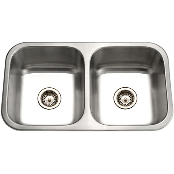 "Houzer 32"" Stainless Steel Undermount 50/50 Double Bowl Kitchen Sink, ED-3108-1"