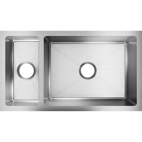 "Elkay Crosstown 32"" Stainless Steel Kitchen Sink, 25/75 Double Bowl, Polished Satin, EFRU321910T"