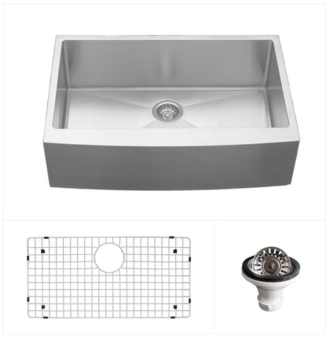 "Karran 30"" Stainless Steel Farmhouse Sink, 16 Gauge, EL-82-PK1"