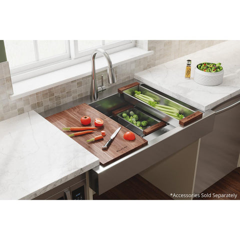 "Elkay 36"" Stainless Steel ADA Workstation Farmhouse Sink, Polished Satin, ELDSSF36279DBG"