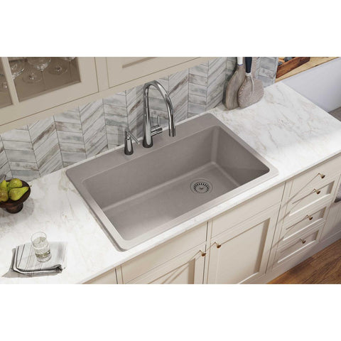 "Elkay Classic 33"" Quartz Kitchen Sink, Greige, ELG13322GR0"