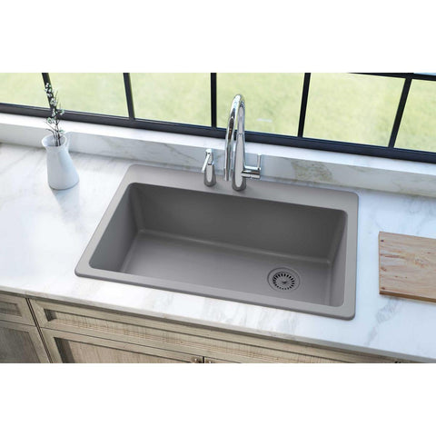 "Elkay Classic 33"" Quartz Kitchen Sink, Greystone, ELG13322GS0"