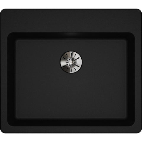 "Elkay Classic 25"" Quartz Kitchen Sink, Black, ELGAD2522PDBK0"