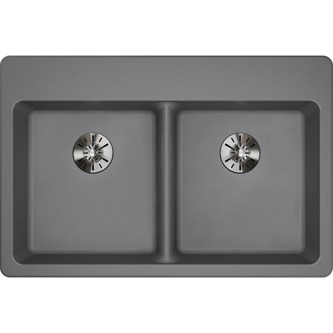 "Elkay Classic 33"" Quartz Kitchen Sink, 50/50 Double Bowl, Greystone, ELGAD3322PDGS0"