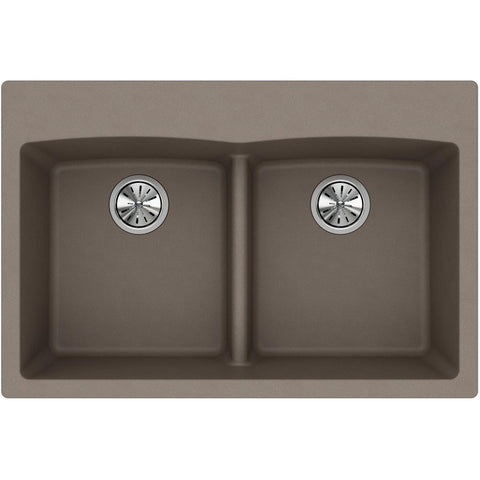 "Elkay Classic 33"" Quartz Kitchen Sink, 50/50 Double Bowl, Greige, ELGDLB3322GR0"