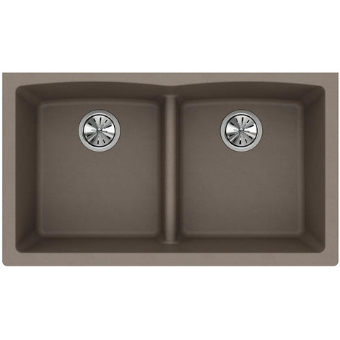 "Elkay Classic 33"" Quartz Kitchen Sink, 50/50 Double Bowl, Greige, ELGDULB3322GR0"