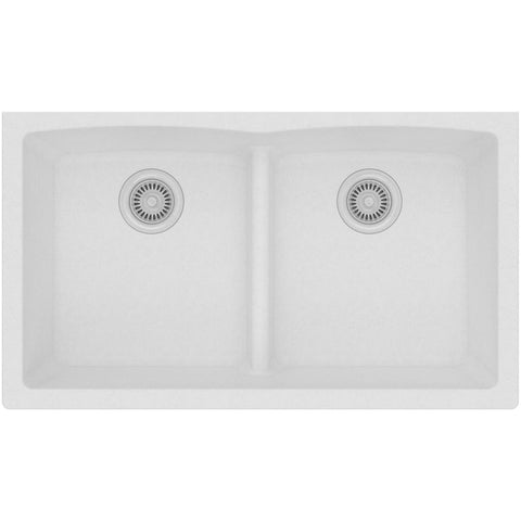 "Elkay Classic 33"" Quartz Kitchen Sink, 50/50 Double Bowl, White, ELGDULB3322WH0"