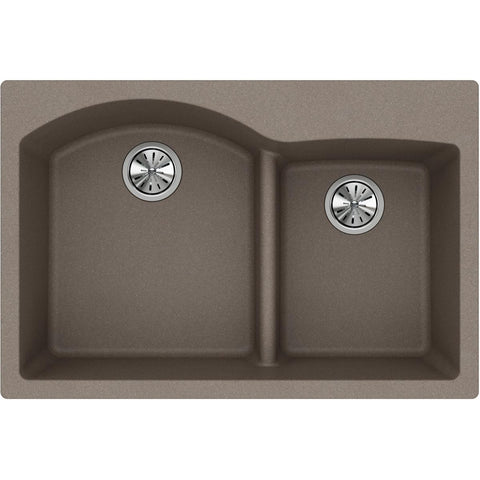 "Elkay Classic 33"" Quartz Kitchen Sink, 55/45 Double Bowl, Greige, ELGH3322RGR0"