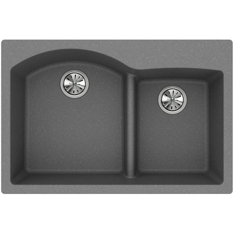 "Elkay Classic 33"" Quartz Kitchen Sink, 55/45 Double Bowl, Greystone, ELGH3322RGS0"