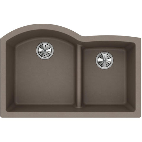 "Elkay Classic 33"" Quartz Kitchen Sink, 55/45 Double Bowl, Greige, ELGHU3322RGR0"