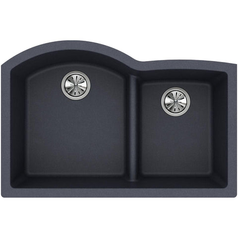 "Elkay Classic 33"" Quartz Kitchen Sink, 55/45 Double Bowl, Dusk Gray, ELGHU3322RGY0"