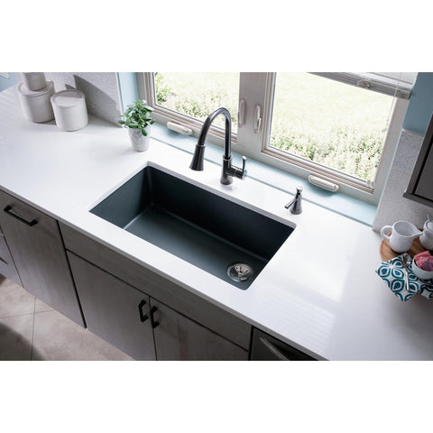 "Elkay Classic 33"" Quartz Kitchen Sink, Greystone, ELGU13322GS0"