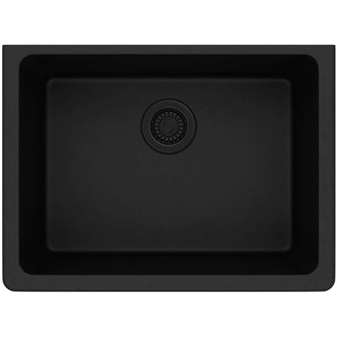 "Elkay Classic 25"" Quartz Kitchen Sink, Black, ELGU2522BK0"