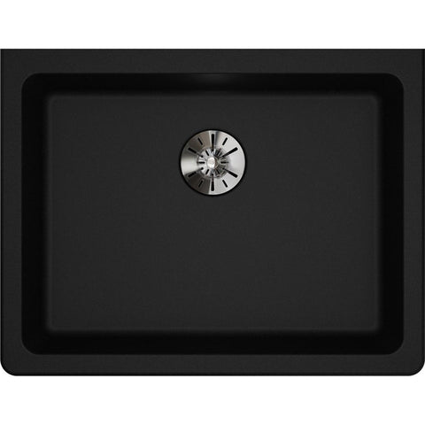 "Elkay Classic 25"" Quartz Kitchen Sink, Black, ELGUAD2519PDBK0"
