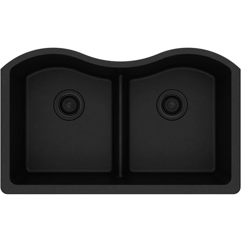 "Elkay Classic 33"" Quartz Kitchen Sink, 50/50 Double Bowl, Black, ELGULB3322BK0"