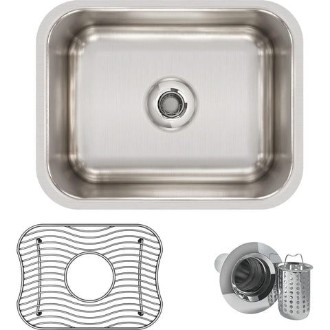 "Elkay Lustertone Classic 15"" Stainless Steel Bar Sink Kit, Lustrous Satin, ELUH129DBG"