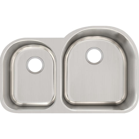"Elkay Lustertone Classic 31"" Stainless Steel Kitchen Sink, 40/60 Double Bowl, Lustrous Satin, ELUH311910L"