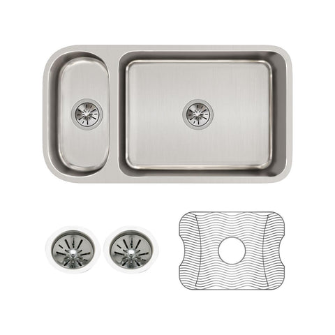 "Elkay Lustertone Classic 32"" Stainless Steel Kitchen Sink, 25/75 Double Bowl, Sink Kit, Lustrous Satin, ELUH3219DBG"