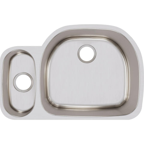 "Elkay Lustertone Classic 32"" Stainless Steel Kitchen Sink, 25/75 Double Bowl, Lustrous Satin, ELUH322110L"