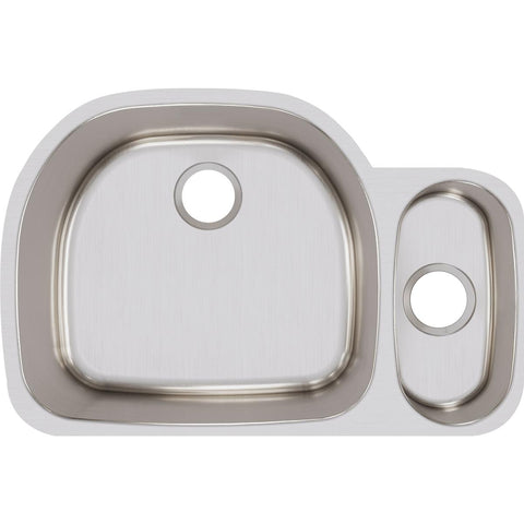 "Elkay Lustertone Classic 32"" Stainless Steel Kitchen Sink, 75/25 Double Bowl, Lustrous Satin, ELUH322110R"