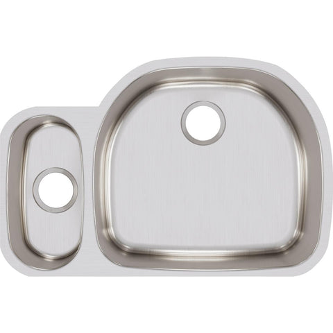 "Elkay Lustertone Classic 32"" Stainless Steel Kitchen Sink, 25/75 Double Bowl, Lustrous Satin, ELUH3221L"