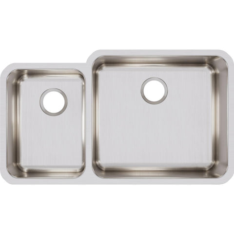 "Elkay Lustertone Classic 35"" Stainless Steel Kitchen Sink, 35/65 Double Bowl, Lustrous Satin, ELUH3520L"