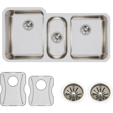 "Elkay Lustertone Classic 40"" Stainless Steel Kitchen Sink, 40/20/40 Triple Bowl, Sink Kit, Lustrous Satin, ELUH4020DBG"
