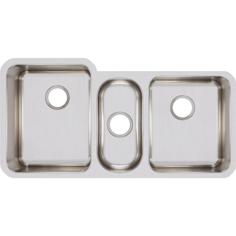 "Elkay Lustertone Classic 40"" Stainless Steel Kitchen Sink, 40/20/40 Triple Bowl, Lustrous Satin, ELUH4020"