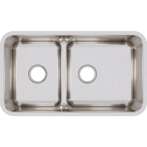 "Elkay Lustertone Classic 32"" Stainless Steel Kitchen Sink, 40/60 Double Bowl, Lustrous Satin, ELUHAQD32179"
