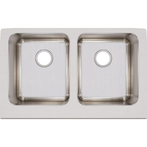 "Elkay Lustertone Classic 33"" Stainless Steel Farmhouse Kitchen Sink, 50/50 Double Bowl, Lustrous Satin, ELUHF3320"