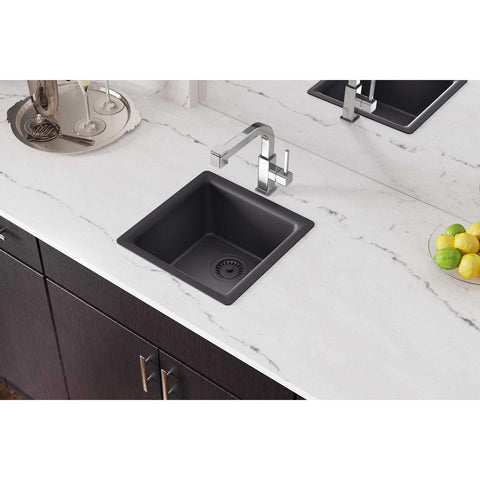 "Elkay Luxe 16"" Quartz Bar Sink, Charcoal, ELX1616CH0"