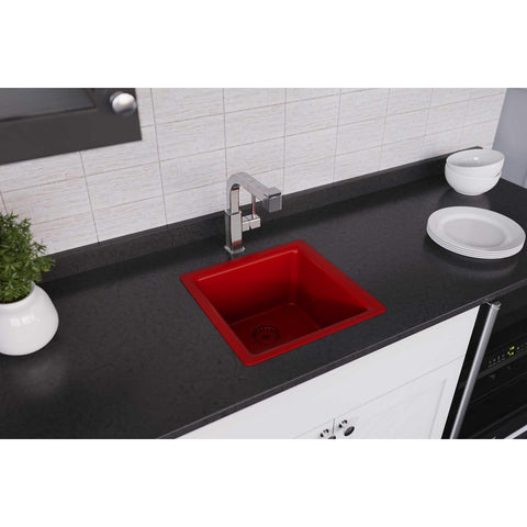 "Elkay Luxe 16"" Quartz Bar Sink, Maraschino, ELX1616MA0"