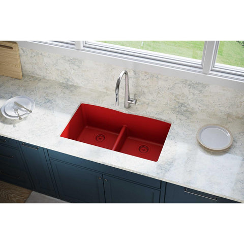 "Elkay Luxe 33"" Quartz Kitchen Sink, 50/50 Double Bowl, Maraschino, ELXDULB3322MA0"