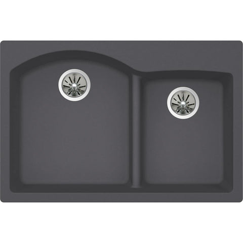 "Elkay Luxe 33"" Quartz Kitchen Sink, 55/45 Double Bowl, Charcoal, ELXH3322RCH0"