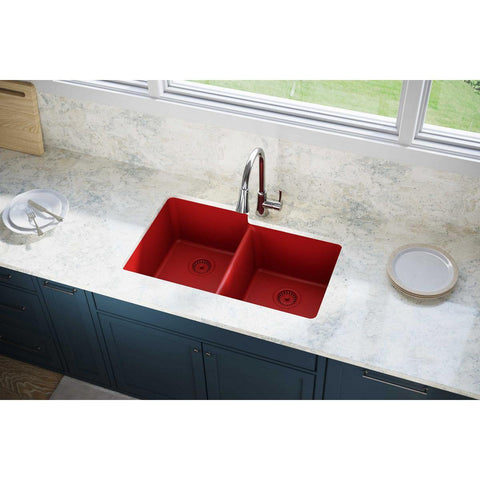 "Elkay Luxe 33"" Quartz Kitchen Sink, 50/50 Double Bowl, Maraschino, ELXU250RMA0"