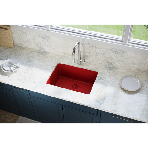 "Elkay Luxe 25"" Quartz Kitchen Sink, Maraschino, ELXU2522MA0"