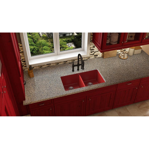 "Elkay Luxe 33"" Quartz Kitchen Sink, 50/50 Double Bowl, Maraschino, ELXU3322MA0"