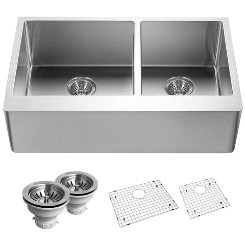 "Houzer 33"" Stainless Steel Farmhouse Apron Front Kitchen Sink, END-3360SR - The Sink Boutique"