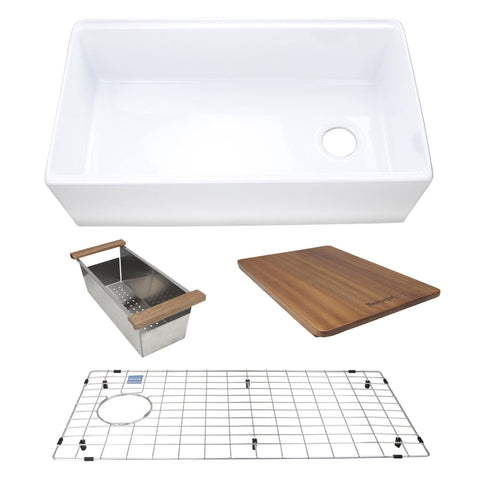 "Nantucket Sinks Cape 33"" Fireclay Workstation Farmhouse Sink with Accessories, White, FC-TPS33"