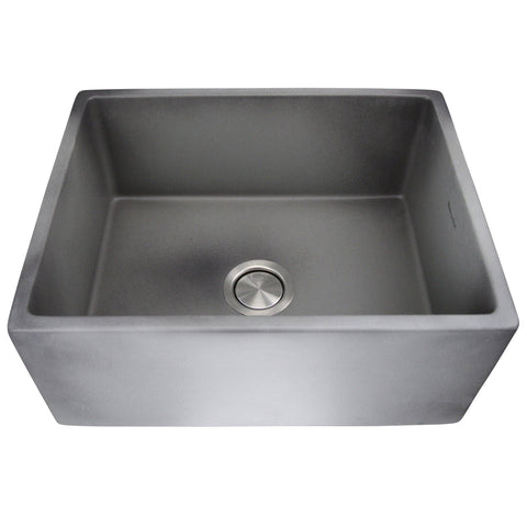 "Nantucket Sinks Vineyard 23"" Fireclay Farmhouse Sink, Grey, FCFS2418S-Concrete"