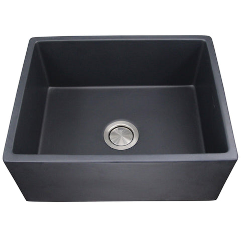 "Nantucket Sinks Vineyard 23"" Fireclay Farmhouse Sink, Matte Black, FCFS2418S-MatteBlack"