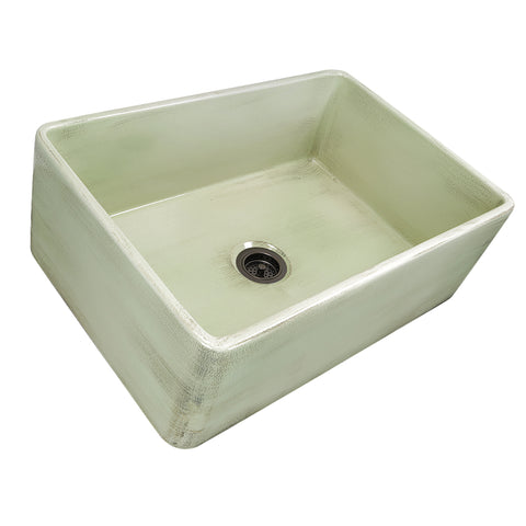 "Nantucket Sinks Vineyard 30"" Fireclay Farmhouse Sink, Light Green, FCFS3020S-ShabbyGreen"