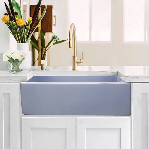"Nantucket Sinks Vineyard 30"" Fireclay Farmhouse Sink, Light Blue, FCFS3020S-ShabbySugar"