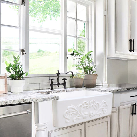 "Nantucket Sinks Vineyard 30"" Fireclay Farmhouse Sink, White, FCFS3020S-Filigree"